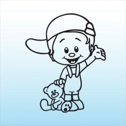Samolepka dítě v autě kluk s medvědem