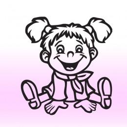 Samolepka dítě v autě Culíkatá holka
