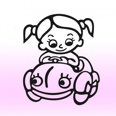 Samolepka dítě v autě Holčička a auto