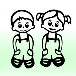Samolepka děti v autě se jmény – Kluk a holka dvojčata
