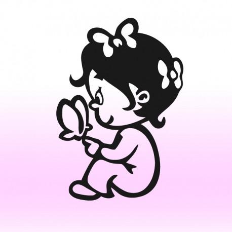 Samolepka dítě v autě Holčička a motýlci