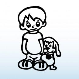 Samolepka dítě v autě Kluk se psem