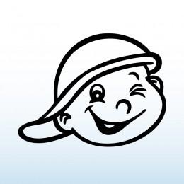 Samolepka dítě v autě se jménem – Kluk s čepicí
