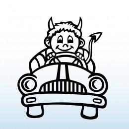 Samolepka dítě v autě se jménem – Ďáblík jede