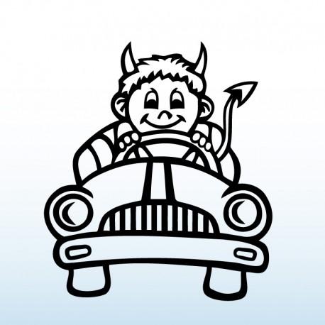 Samolepka dítě v autě Ďáblík jede