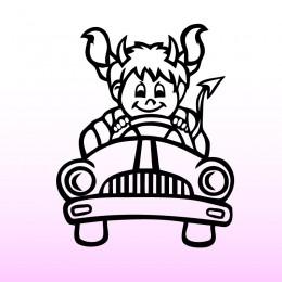 Samolepka dítě v autě se jménem – Ďáblice jede
