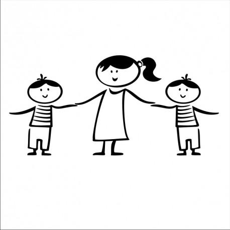 Samolepka dítě v autě - tři sourozenci
