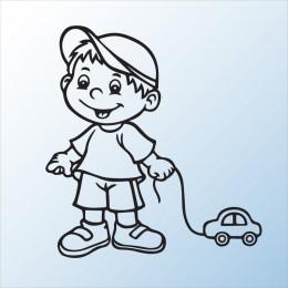 Samolepka dítě v autě se jménem – Chlapeček s autíčkem