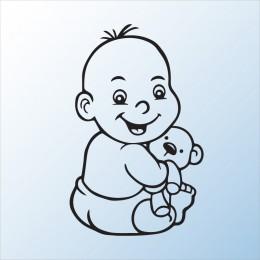 Samolepka dítě v autě se jménem – Chlapeček s medvídkem