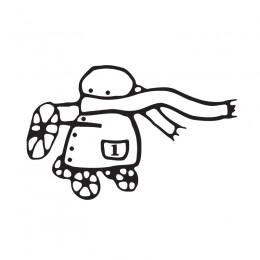 Samolepka dítě v autě se jménem – Dětská kresba - pozor jedu
