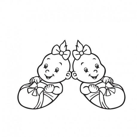 Samolepka dítě v autě Dvojčata miminka holky