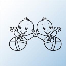 Samolepka dítě v autě Dvojčata miminka kluci