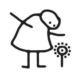 Samolepka dítě v autě se jménem – Dětská kresba - hele kytka
