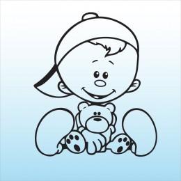 Samolepka dítě v autě Klučina s medvídkem