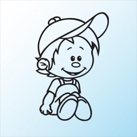 Samolepka dítě v autě Sedící rošťák
