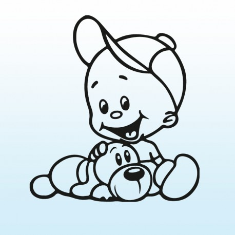 Samolepka dítě v autě Klučina s pejskem