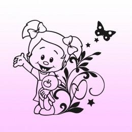Samolepka dítě v autě se jménem Holka s medvědem