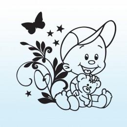Samolepka dítě v autě se jménem – Kluk s květinou