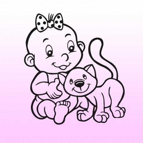 Samolepka dítě v autě se jménem – Holčička s kočkou
