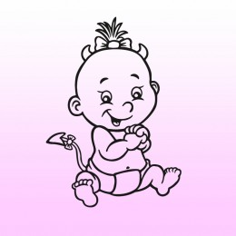 Samolepka dítě v autě se jménem – Miminko čertík