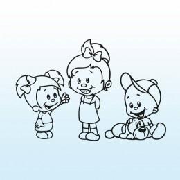 Samolepka děti v autě se jmény – Dvě sestřičky s bráškou