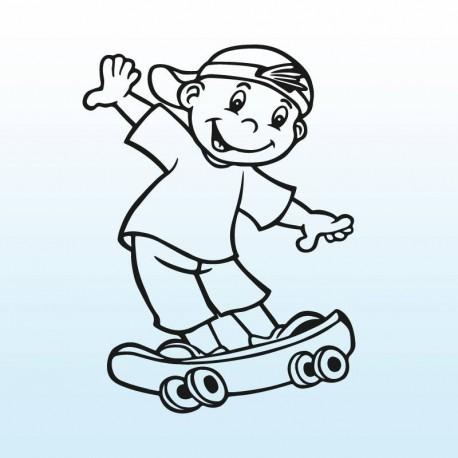 Samolepka dítě v autě se jménem – Kluk na skateboardu