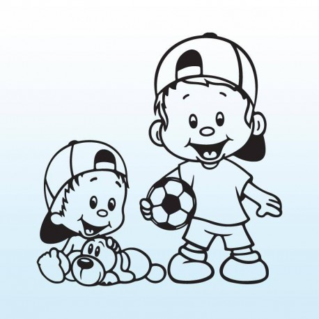 Samolepka děti v autě se jmény – Bráchové s míčem a pejskem
