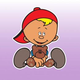 Kluk s medvídkem - barevná samolepka dítě v autě