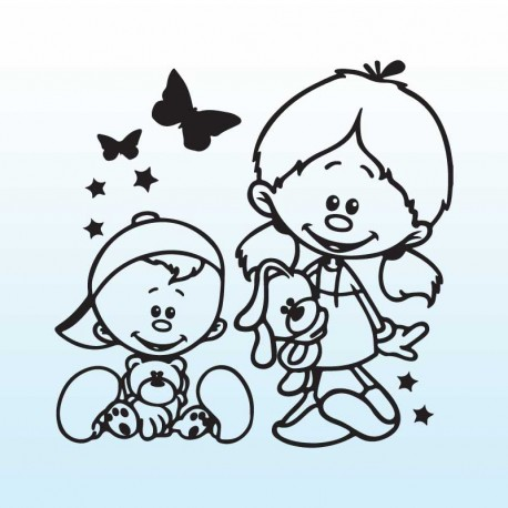 Samolepka děti v autě se jmény – Sestra, bráška a motýlci