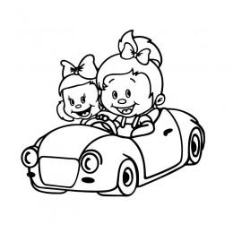 Samolepka děti v autě se jmény – Sestry v autě