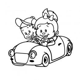 Samolepka děti v autě se jmény sourozenci - Jedeme společně